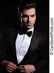 business, jacket., jeune homme, beau, sien, fermer