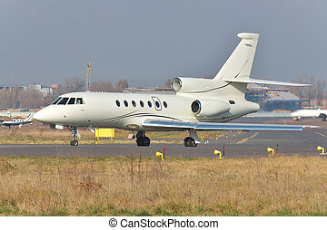 Business jet on runway