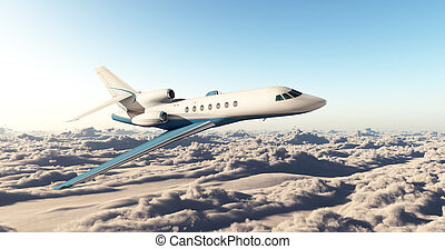 Business jet over the clouds