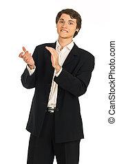 business, jeune, applaudit, homme