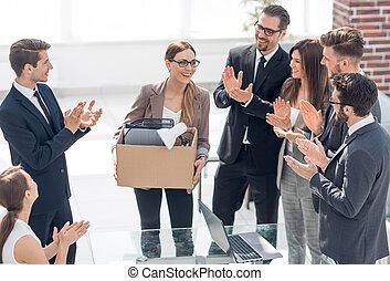 business, jeune, applaudit, spécialiste, équipe