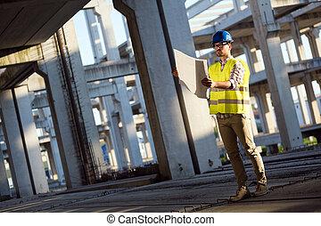 business, jeune, construction, ingénieur, homme, site