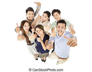business, jeune, haut, pouces, équipe, geste, heureux