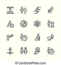 Business, job and personal development icon set in thin line style