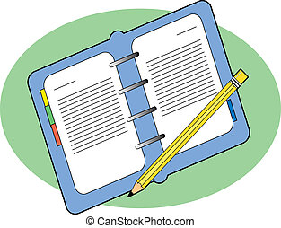 Business Journal - Open business journal with a pencil on...
