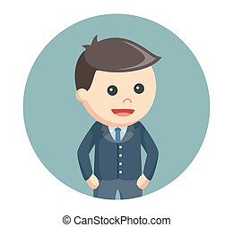 business kid in circle background