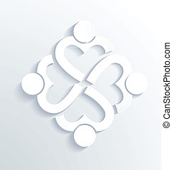 Business label white heart 4