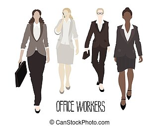 Business-ladies going forward. Vector characters isolated on...