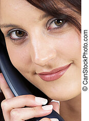 Business Lady #68 - Business woman with blue telephone