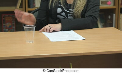 Business lady conduct negotiations using gesticulating of...