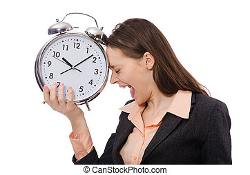 Business lady holding alarm clock isolated on white