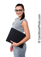 Business lady holding office files