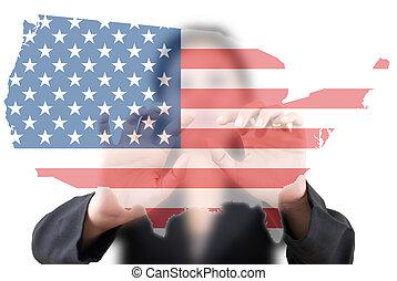 business lady pushing USA flag.