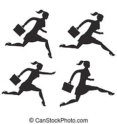 Business lady running set of silhouettes