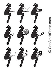 Business lady sitting thinking set of silhouettes