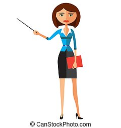 Business lady with a pointer. Youngs woman presenting something. Tutor character isolated on white background vector illustration