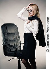 Business lady with glasses having headache