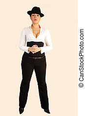 Business lady with hat. - An beautiful business woman in...