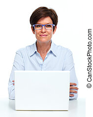 Business lady working with laptop.