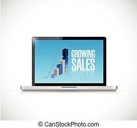 business laptop. growing sales illustration design