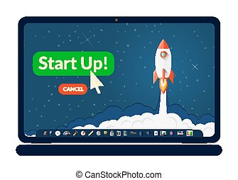 Business laptop illustration