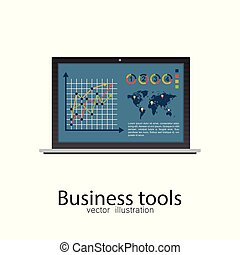 Business laptop vector illustration isolated.