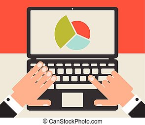Business laptop with statistics graph, flat design vector