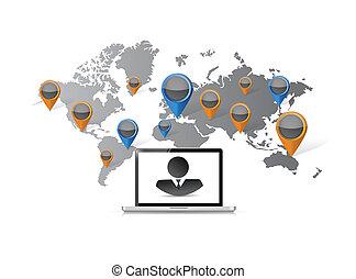 business laptop world map communication map
