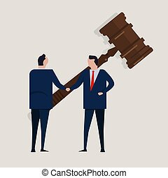 Business law legal contract people agreement standing handshake wearing suite formal with big gavel settlement court. Concept business vector