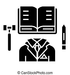 business law - open book icon, vector illustration, black sign on isolated background