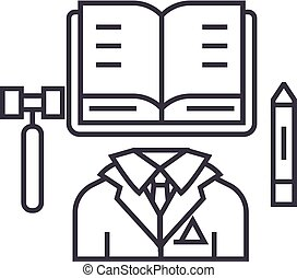 business law,open book vector line icon, sign, illustration on background, editable strokes