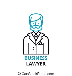Business lawyer concept , outline icon, linear sign, thin line pictogram, logo, flat vector, illustration