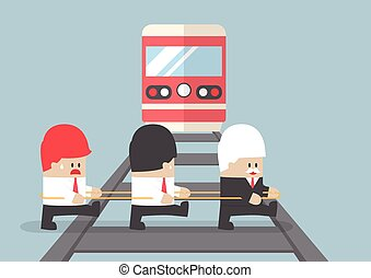 Business leader crossing railroad by ignoring his team, VECTOR, EPS10
