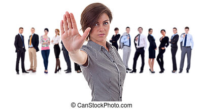 Business leader making a stop gesture