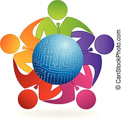 Business leaders team together icon logo