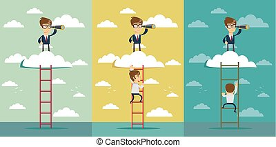 businessman standing on a ladder going throught the cloud and looking to future with telescope.