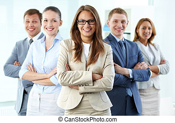 Business leadership - Portrait of five businesspeople...