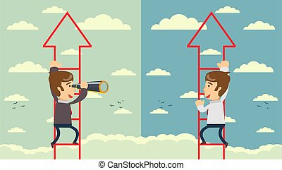 Business leadership vector concept with businessman standing on a ladder going throught the cloud and looking to future with telescope.