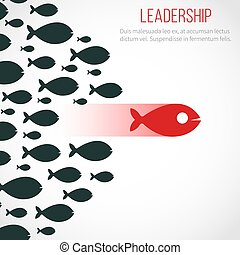 Business leadership vector concept with red leader fish and winning team