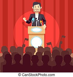 Business leadership vector concept with speaker businessman,...