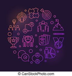 Business Leadership vector round colored outline illustration