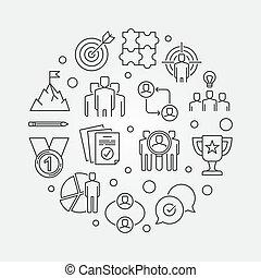 Business Leadership vector round outline illustration