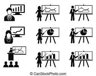 Business lecture meeting icons set