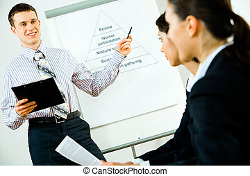 Business lecture - Portrait of successful business man...
