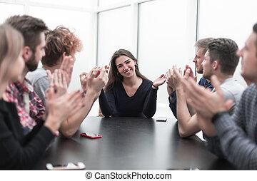 business, leur, applaudir, réunion, travail équipe, éditorial