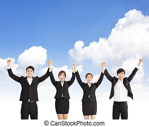 business, leur, gens, célébrer, collaboration, heureux