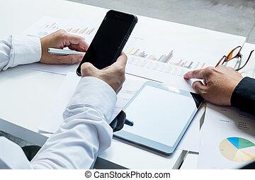 business, leur, ordinateur portable, travail, téléphone portable, planification, utilisation, homme