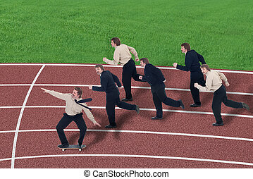 Business leverage - metaphore of staying ahead, winning in business, business competition