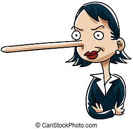Business Liar - A cartoon businesswoman who likes to lie.