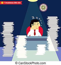 Businessman sleeping at the desk